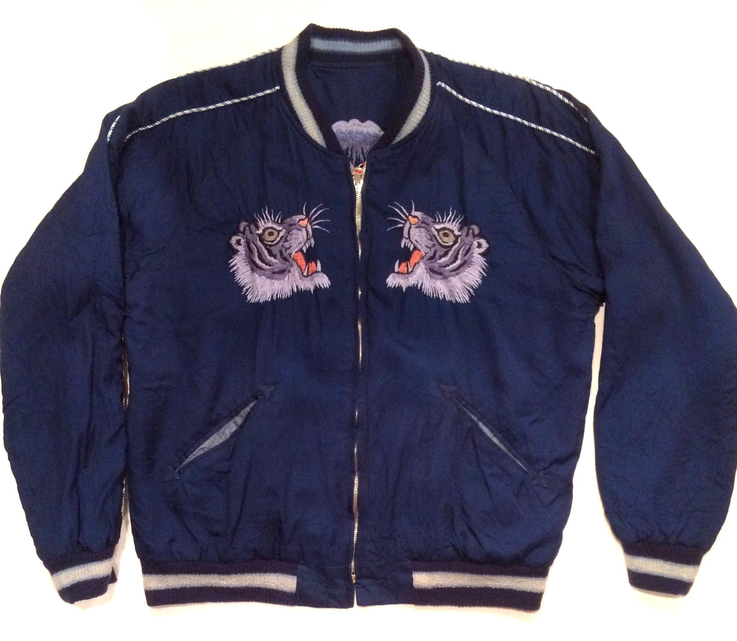"""東洋エンタープライズ  TT13834 SPECIAL EDITION INDIGO """"TIGER"""" Reversible Souvenir Jacket インディゴ """"虎""""  スーベニア ジャケット"""