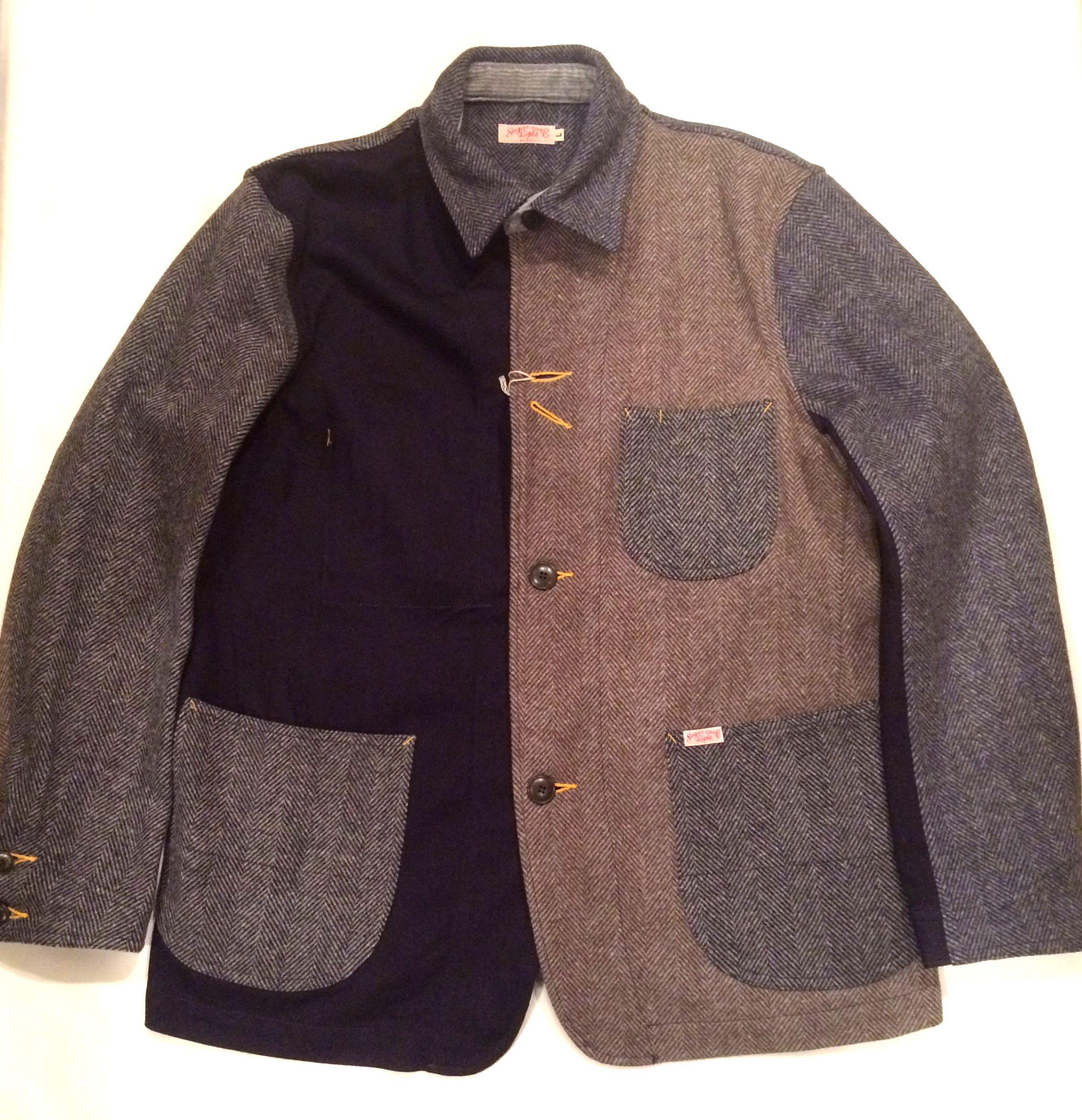 シュガーケーンライト 東洋 SC13732 クレイジーワークジャケット Wool denim x Wool herringbone crazy work jacket SUGAR CANE Light