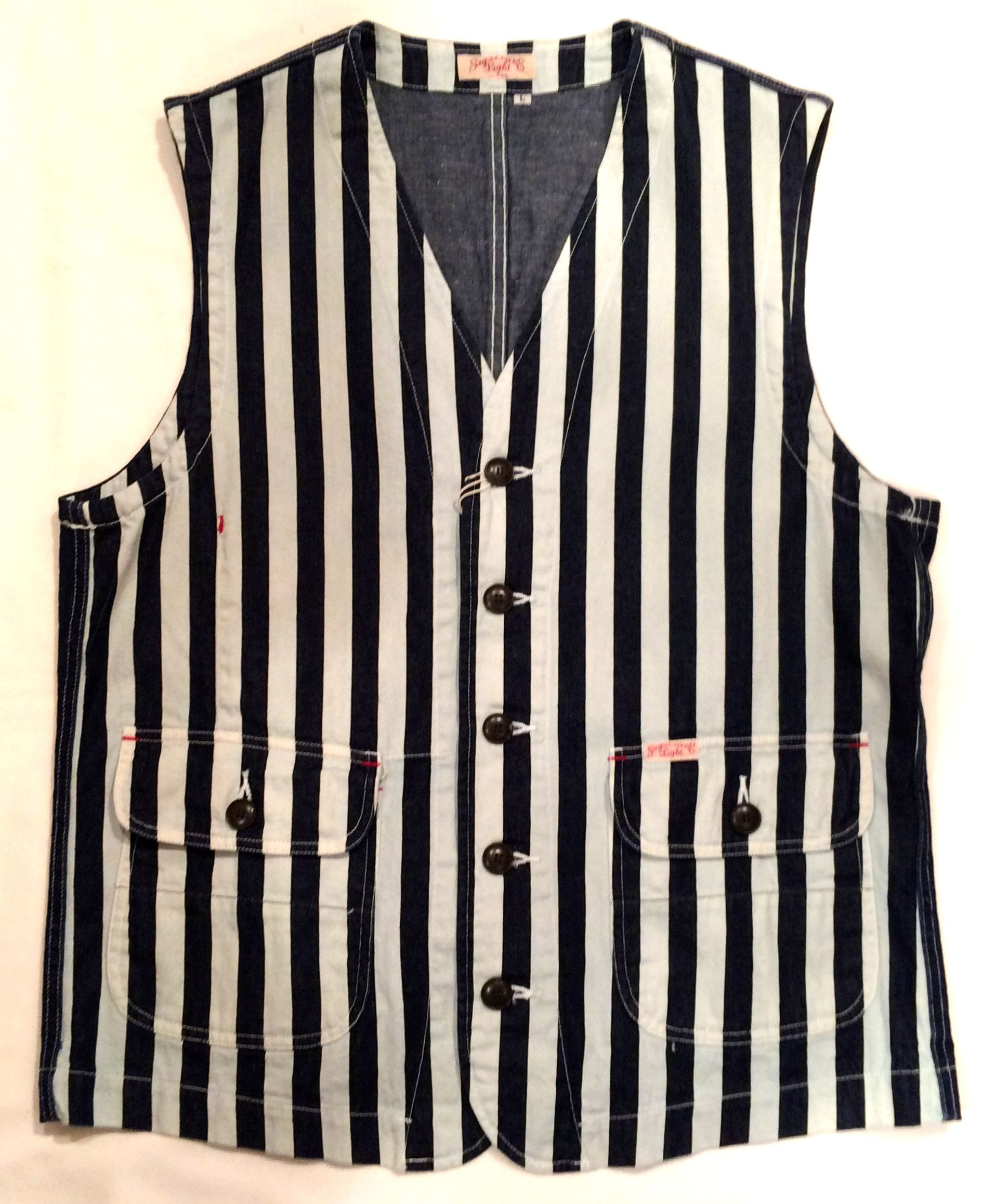SUGAR CANE/シュガーケーン 11oz. HICKORY STRIPE VEST SC13450