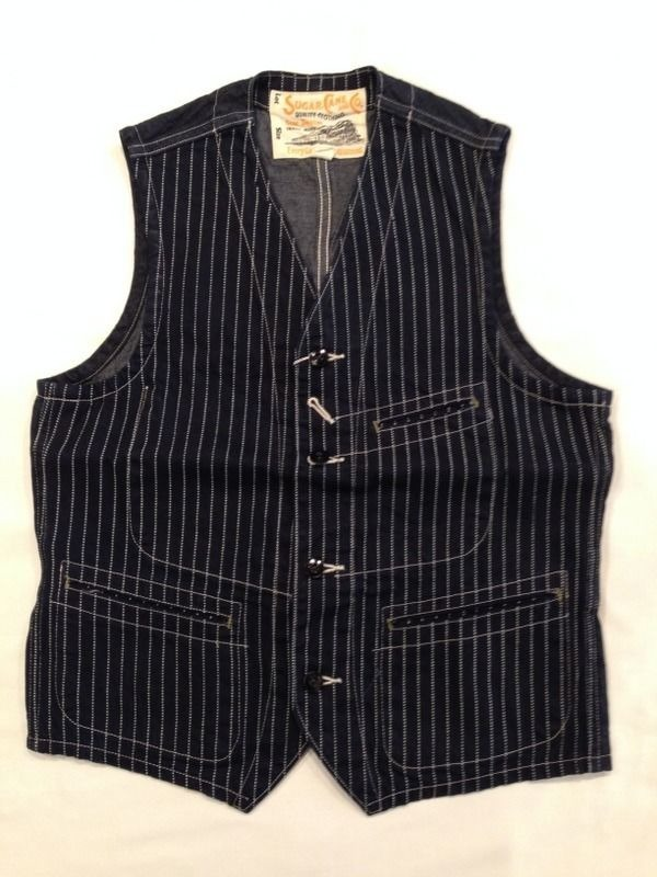 SUGAR CANE  9oz. WABASH STRIPE WORK VEST SC12654
