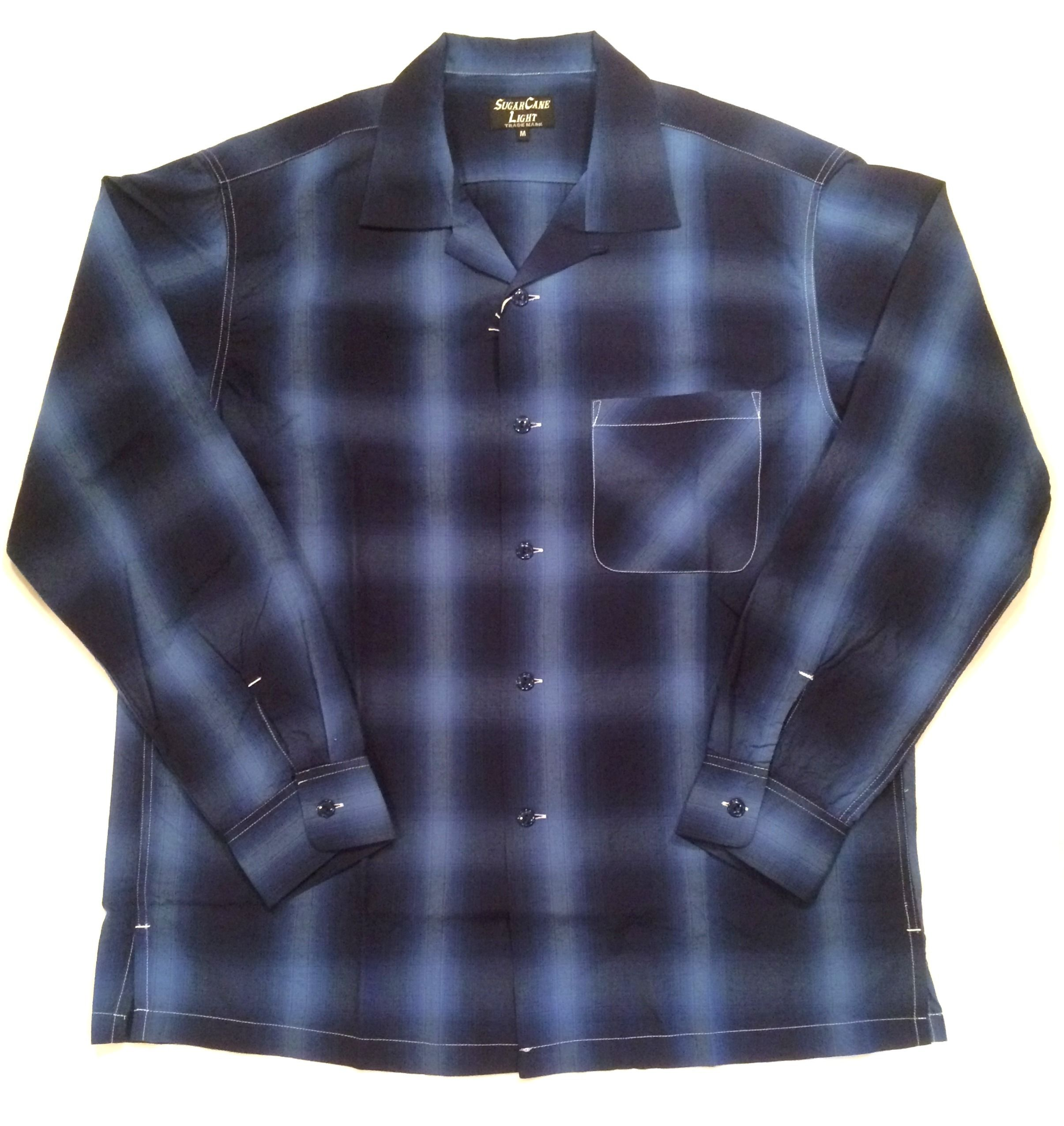 SUGAR CANE LIGHT シュガーケーン ライト Rayon ombray check Open Shirt レーヨンオンブレイチェックシャツ SC27829 ネイビー