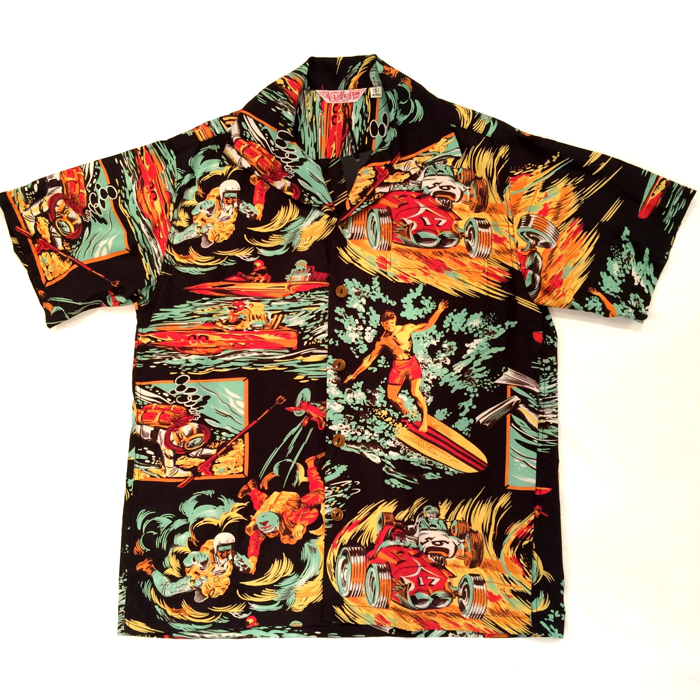 MFSC×SUN SURF COTTON/RAYON ROCK'N'ROLL SHIRT  119 BLACK SC36970