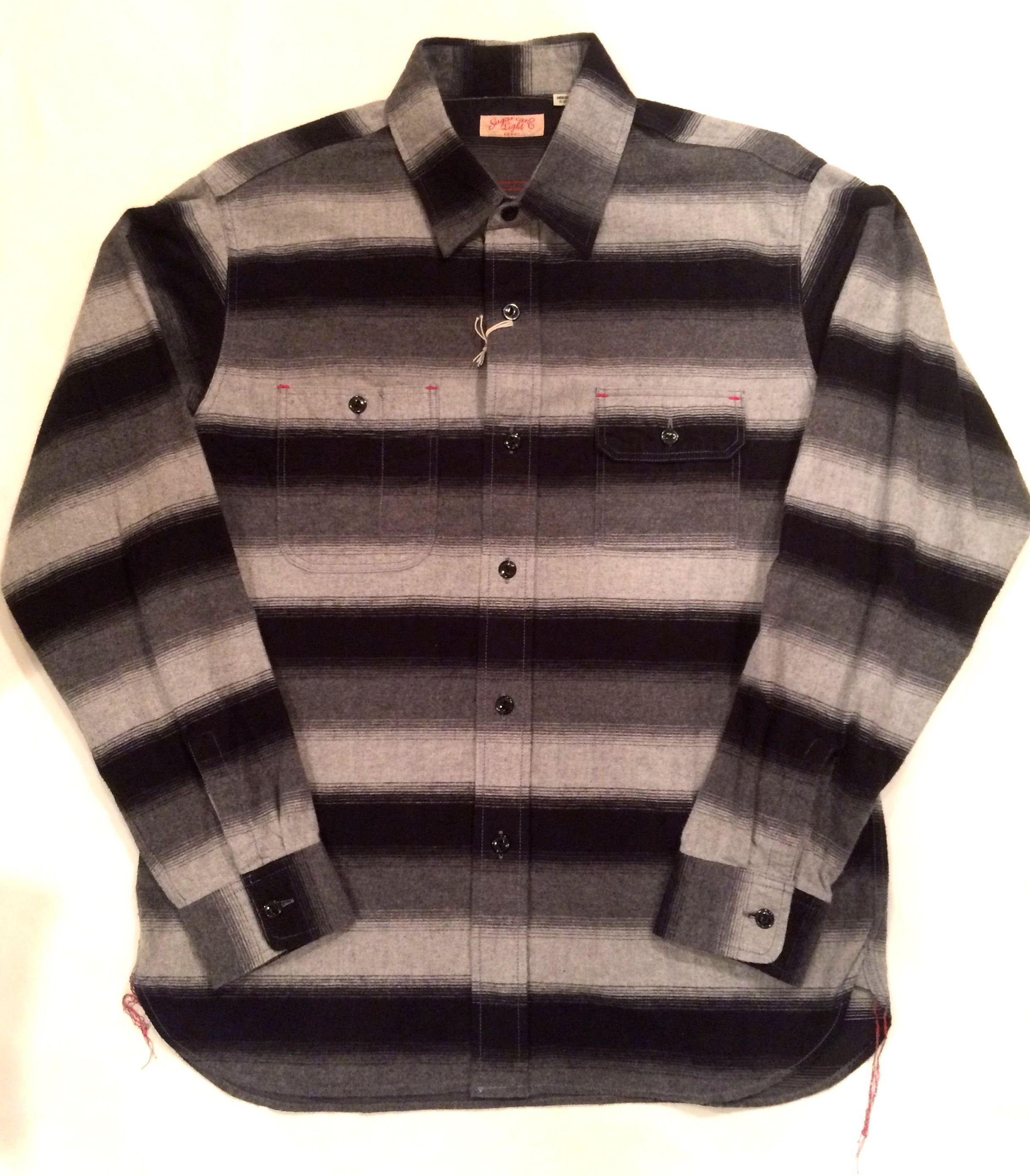 SUGAR CANE LIGHT シュガーケーンライト SC27727 SHAGGY BORDER WORK SHIRTS シャギーボーダーワークシャツ ブラック×グレイ