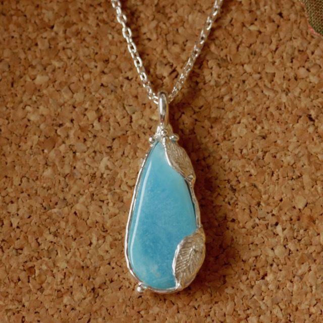 天然ヘミモルファイト純銀(SV1000)ネックレス5.08ct☆原石から磨いた1点もの