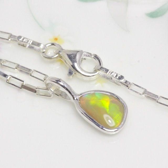 値下げしました!天然オパール純銀(SV1000)ネックレス0.43ct☆ハンドメイド1点もの