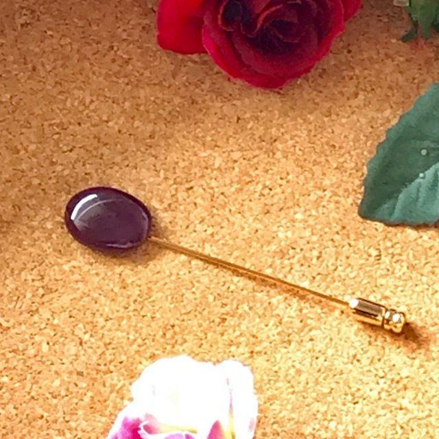 天然スギライトピンブローチ6.12ct☆ 原石から磨きました