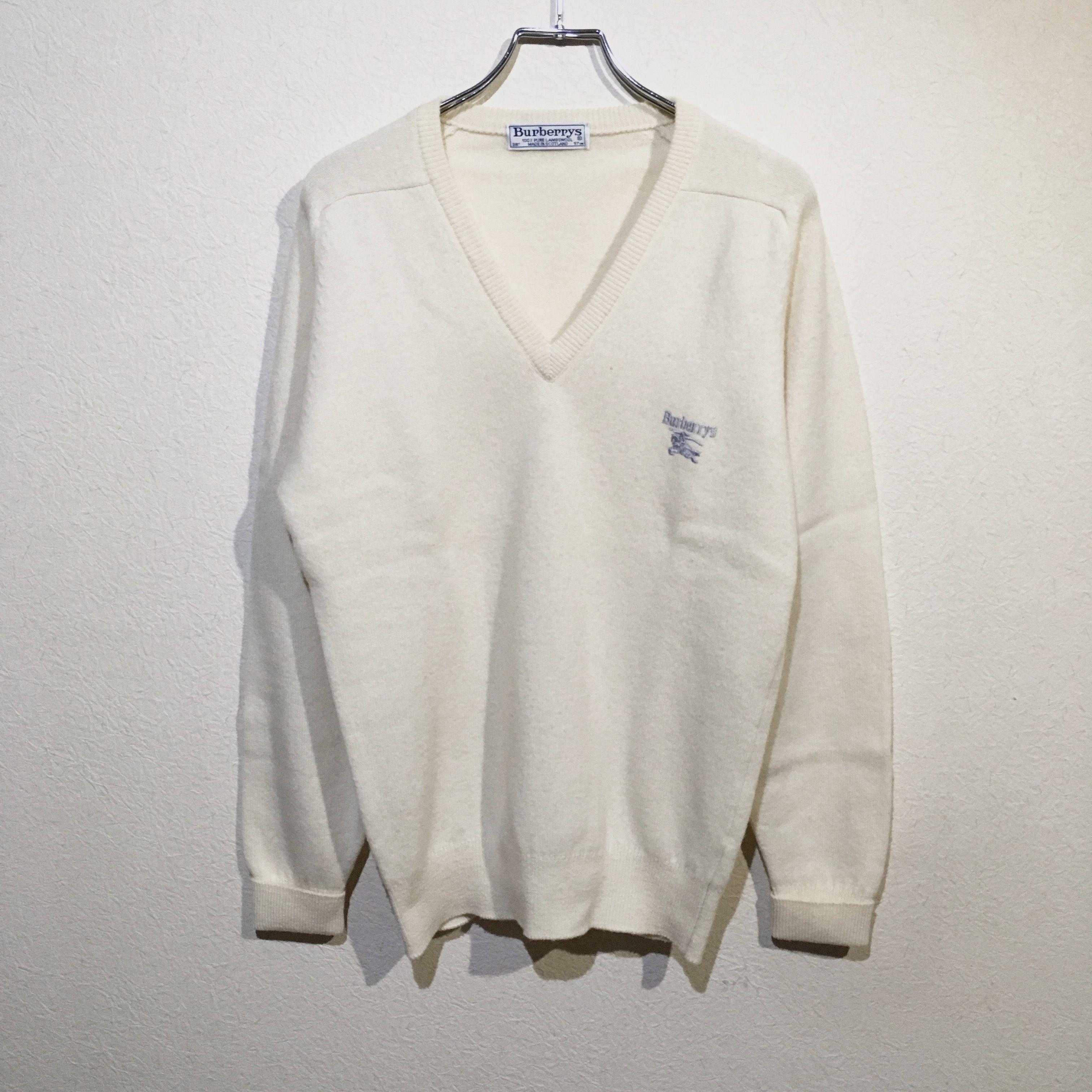 バーバリー Vネック セーター 100% ピュア ラムウール ビンテージ スコットランド製 ホワイト