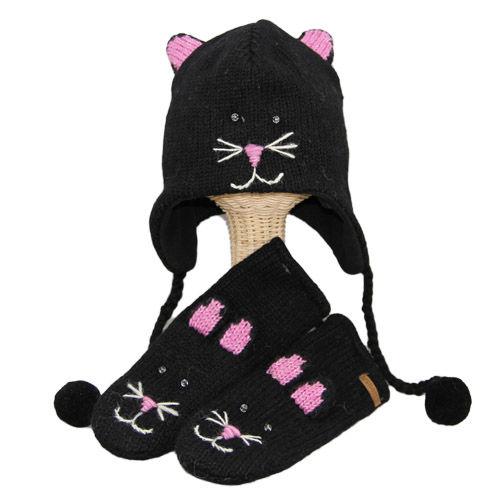 【 knit wits】ニットウィッツ  手編みニット 猫のキキ ウィンター/ミトン 大人・子供セット