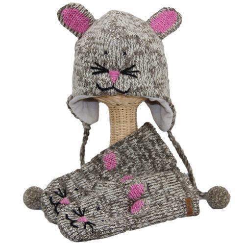 【 knit wits】ニットウィッツ  手編みニット ねずみのミミ ウィンター/ミトン 大人・子供セット