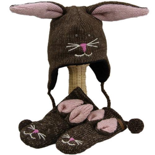 【 knit wits】ニットウィッツ  手編みニット ブラウンバニー ウィンター/ミトン 大人・子供セット