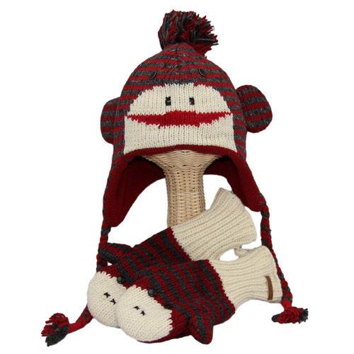 【 knit wits】ニットウィッツ CUTEストライプモンキー 手編みニット ウィンター / ミトン 大人・子供セット