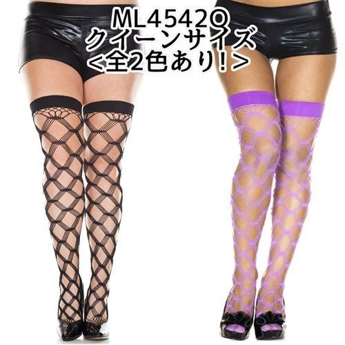 【MUSICLEGS クイーンサイズ】<全2色あり!>ダイアモンドフェンスネットデザイン タイハイストッキング