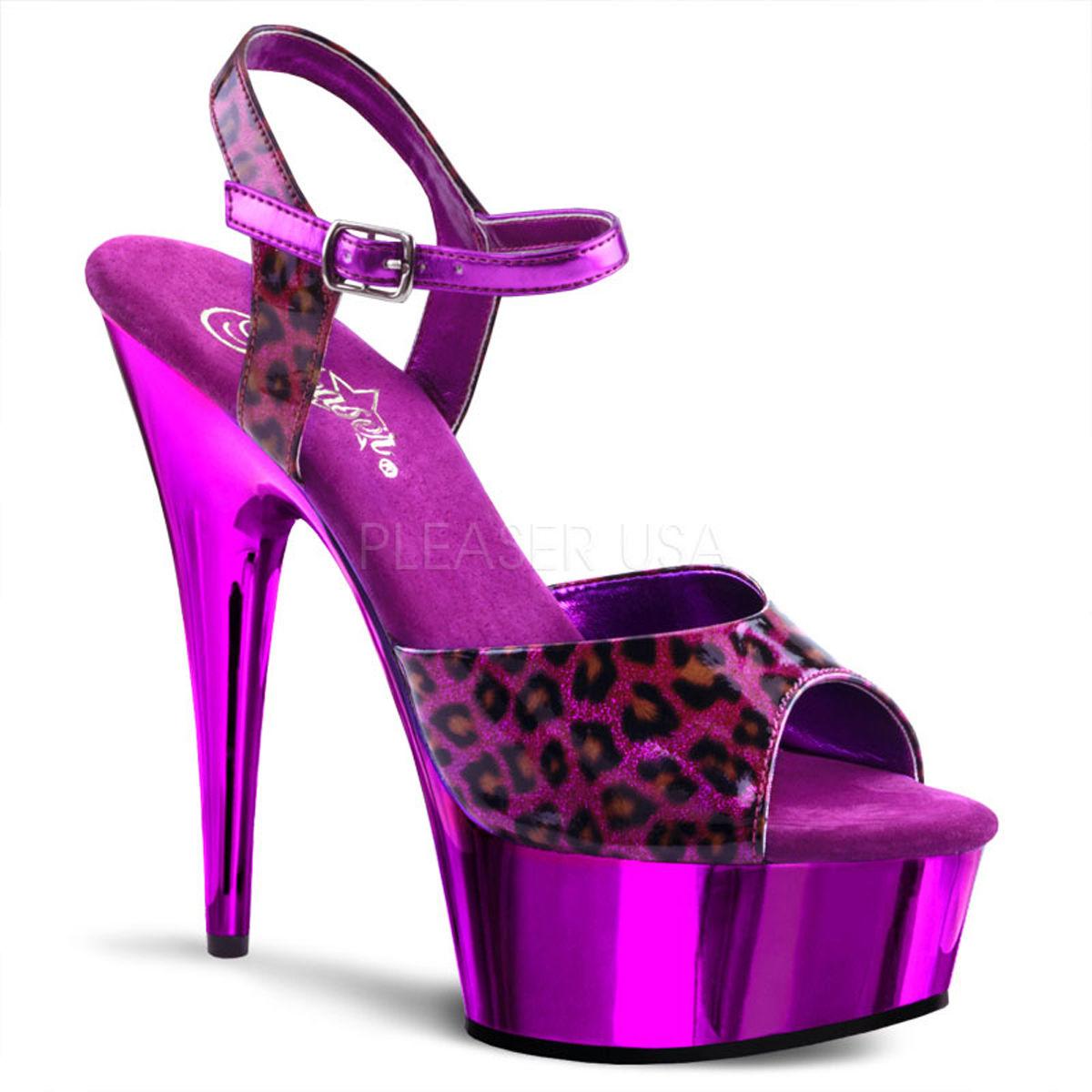 【お取り寄せ】【Pleaser】DELIGHT-609CP Purple Pearlized Cheetah/Purple Chrome珍しいチーター柄!プリーザ 厚底 ヒール サンダル キャバ