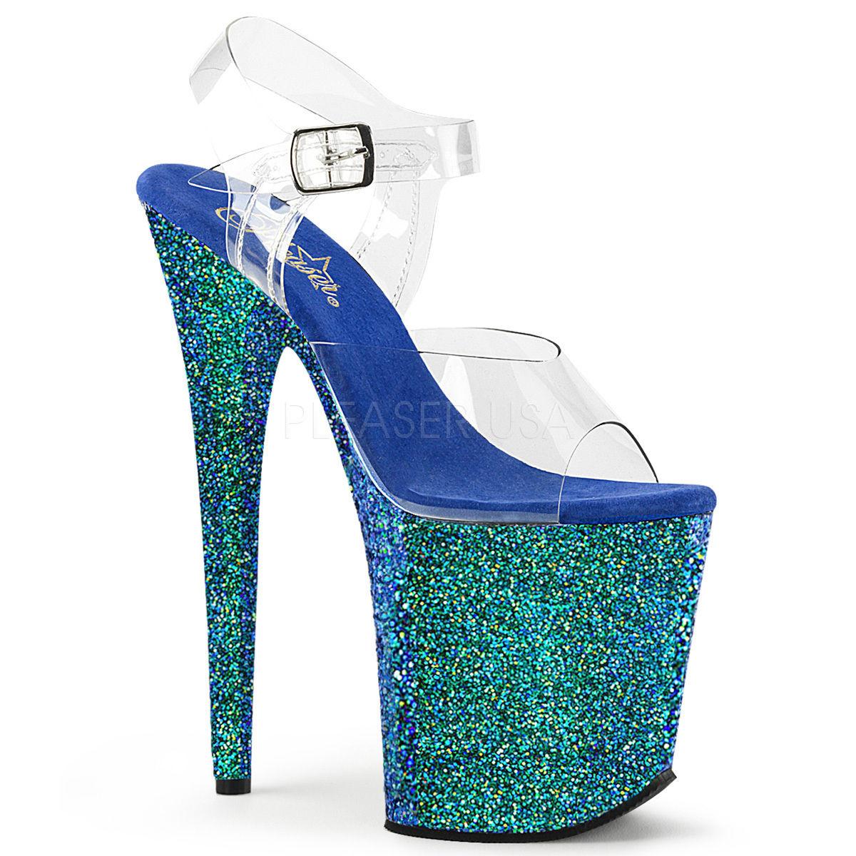 【お取り寄せ】【Pleaser】FLAMINGO-808LG  Clr/Blue Holo Glitter エキゾチックなカラーに一目ぼれ!プリーザ 厚底 ヒール サンダル キャバ