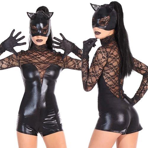 【LuxuryRose】キャットウーマン 長袖 マスク付き ボディスーツ コスプレ衣装 ハロウィン