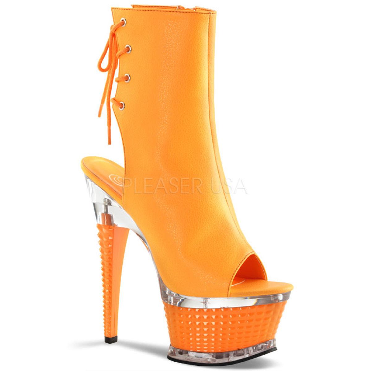 【お取り寄せ】【Pleaser】ILLUSION-1018UV Neon Orange Faux Leather/Orange,ブラックライト対応!プリーザ 厚底 ヒール サンダル キャバ