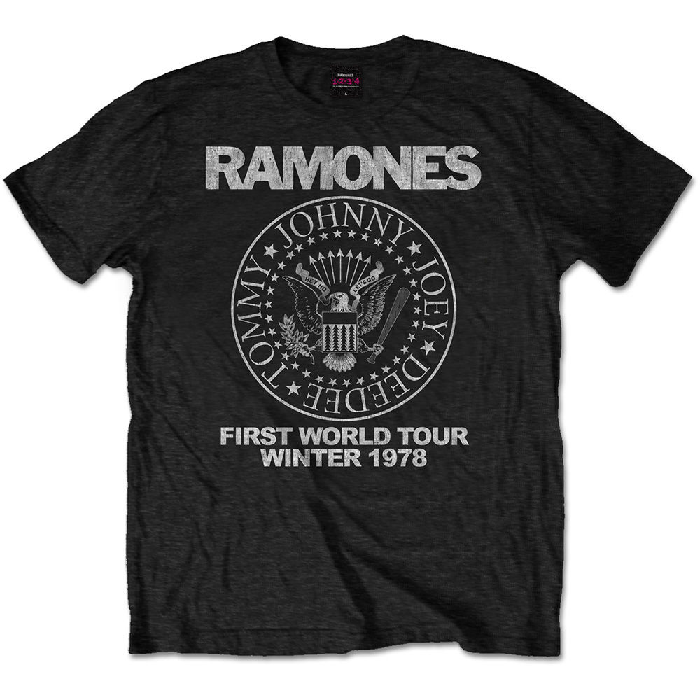 RAMONES MEN'S TEE: FIRST WORLD TOUR 1978