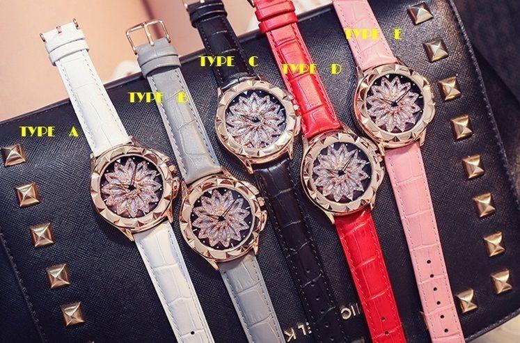 Feminino レディース  クォーツ腕時計 ラインストーン キラキラ ジュエリー デザインウォッチ くるくる回る