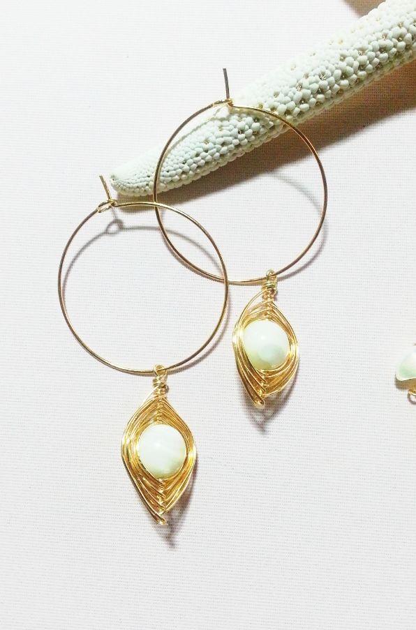 mother of pearl hoop pierce