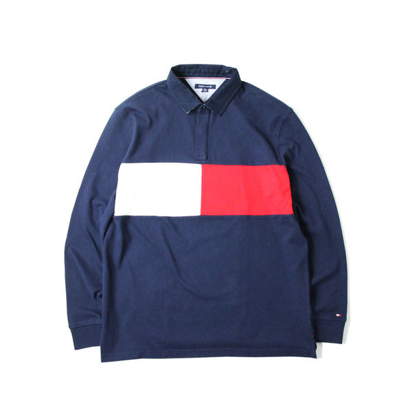 TOMMY HILFIGER / L/S RUGGER SHIRTS navy/white/red  XLサイズ