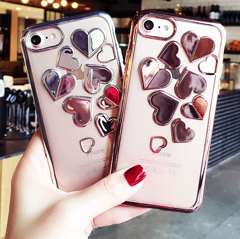 【在庫あり】メタリックハート 3色選べるシリコンラバー透明iphoneケース