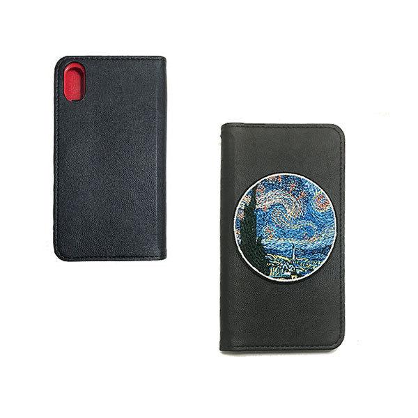 GJALLARHORN ギャラルホルン ゴッホ「星月夜」 刺繍ワッペン iPhoneX 手帳型フラップケース  BLK