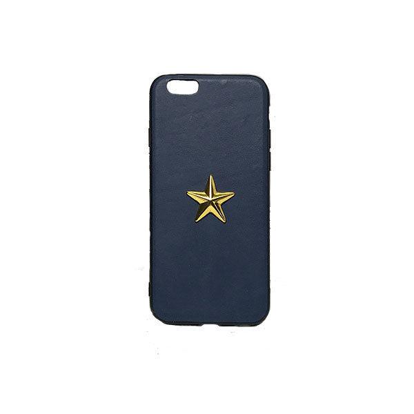 GJALLARHORN ギャラルホルン iPhone ケース TPUバンパーワンスターレザーケース  ネイビーブルー×ゴールド