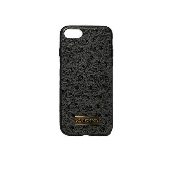 4.7inch GJALLARHORN ギャラルホルン iPhone ケース TPUバンパーオーストリッチ型押しレザーケース NOTFOUND ダークグレー