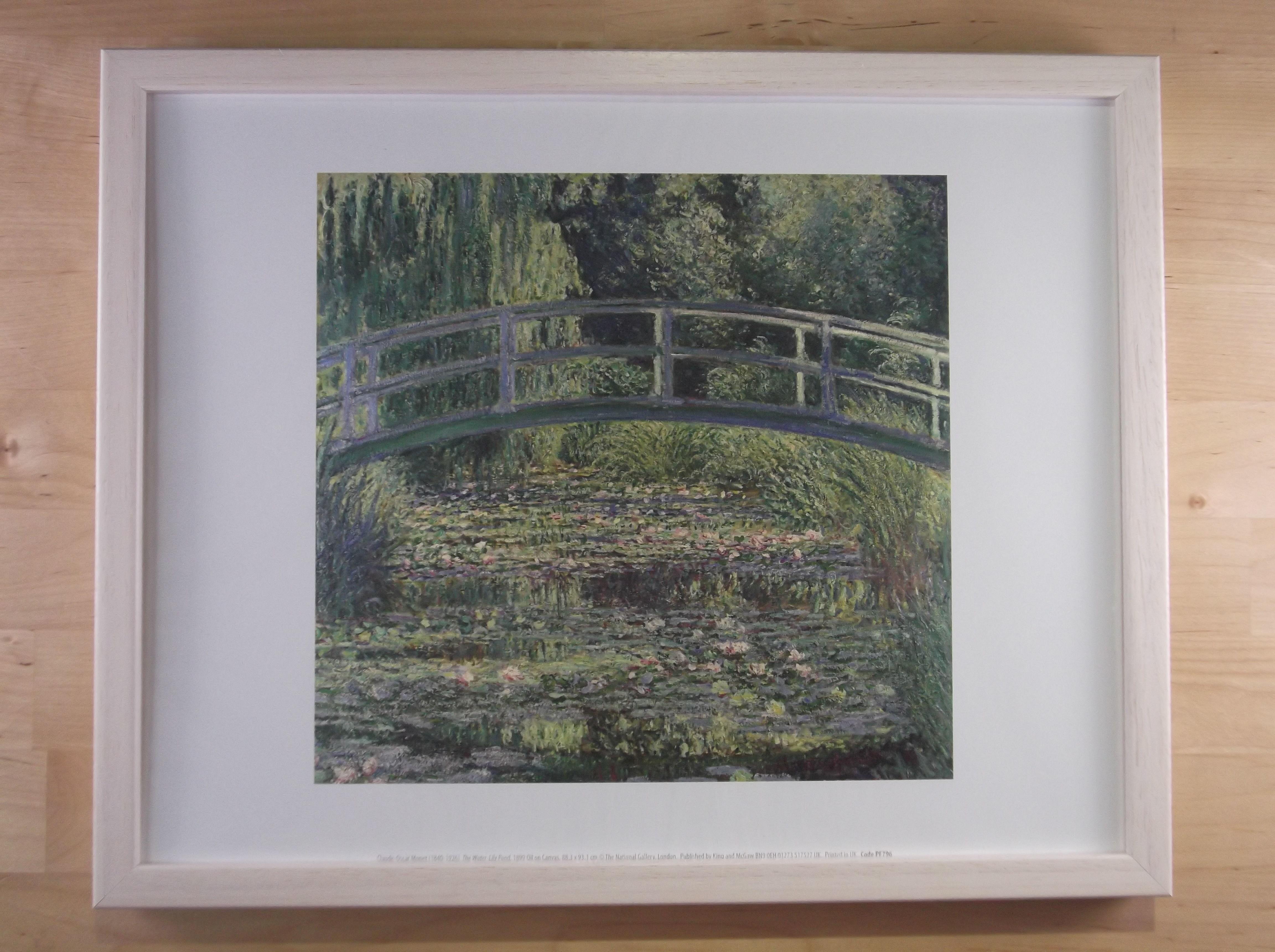 モネ 睡蓮の池 ライムホワイト色額縁絵画プリント(ロンドン ナショナルギャラリー所蔵)