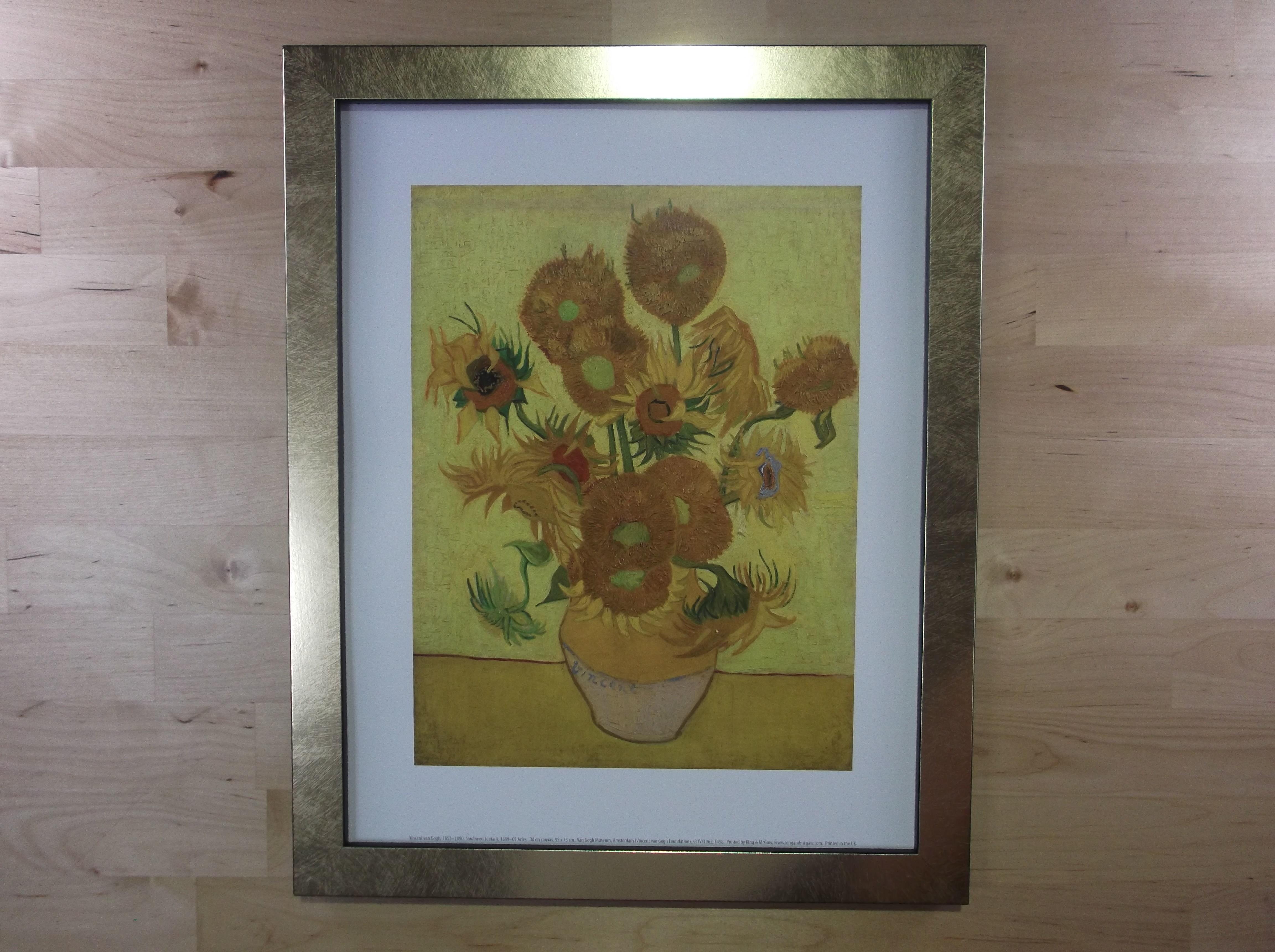 ゴッホ ひまわり ゴールド色額縁絵画プリント(オランダ ゴッホ美術館所蔵)