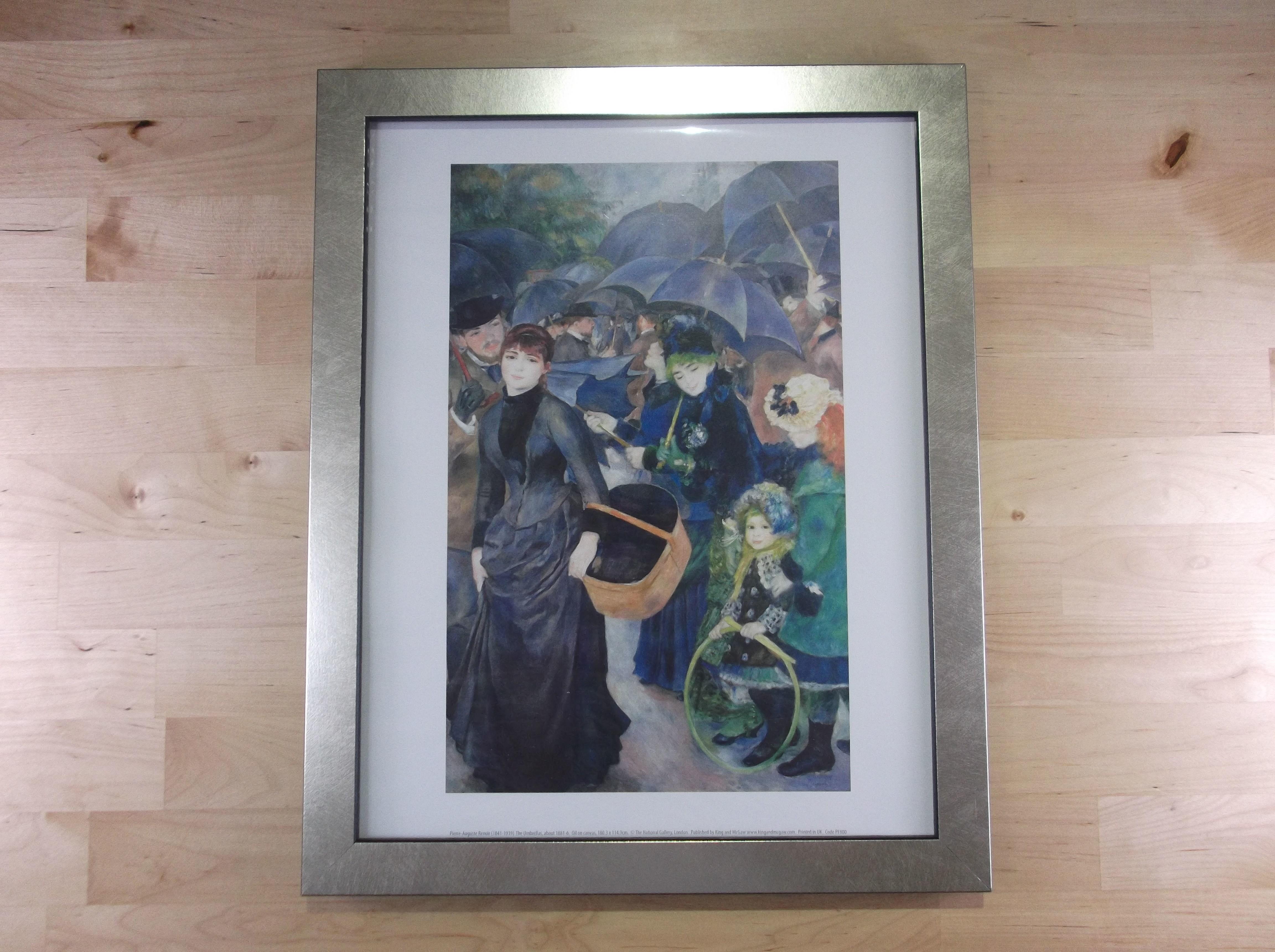 ルノアール 雨傘 シルバー色額縁絵画プリント(ロンドン ナショナルギャラリー所蔵)