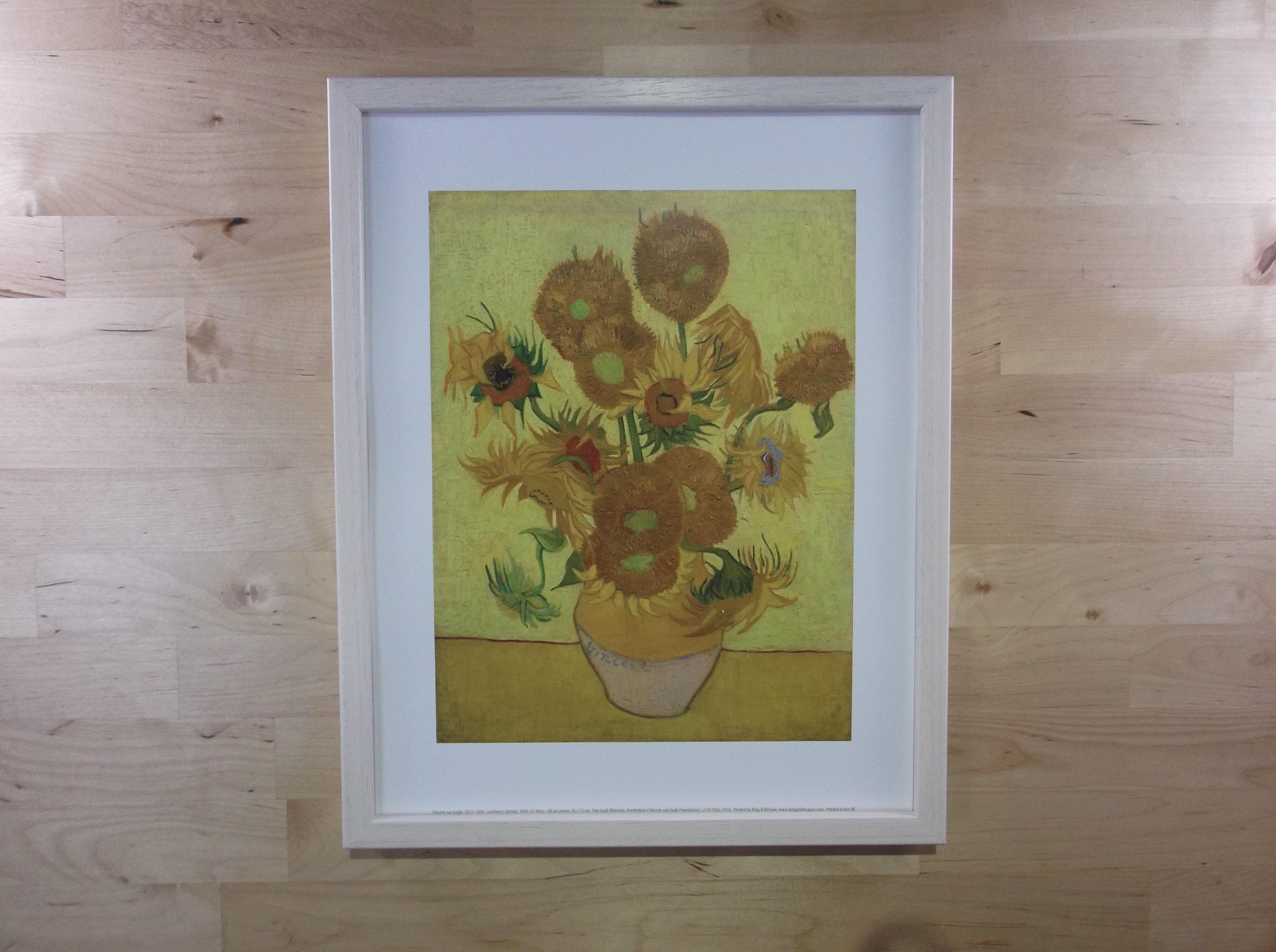 ゴッホ ひまわり ライムホワイト色額縁絵画プリント(オランダ ゴッホ美術館所蔵)