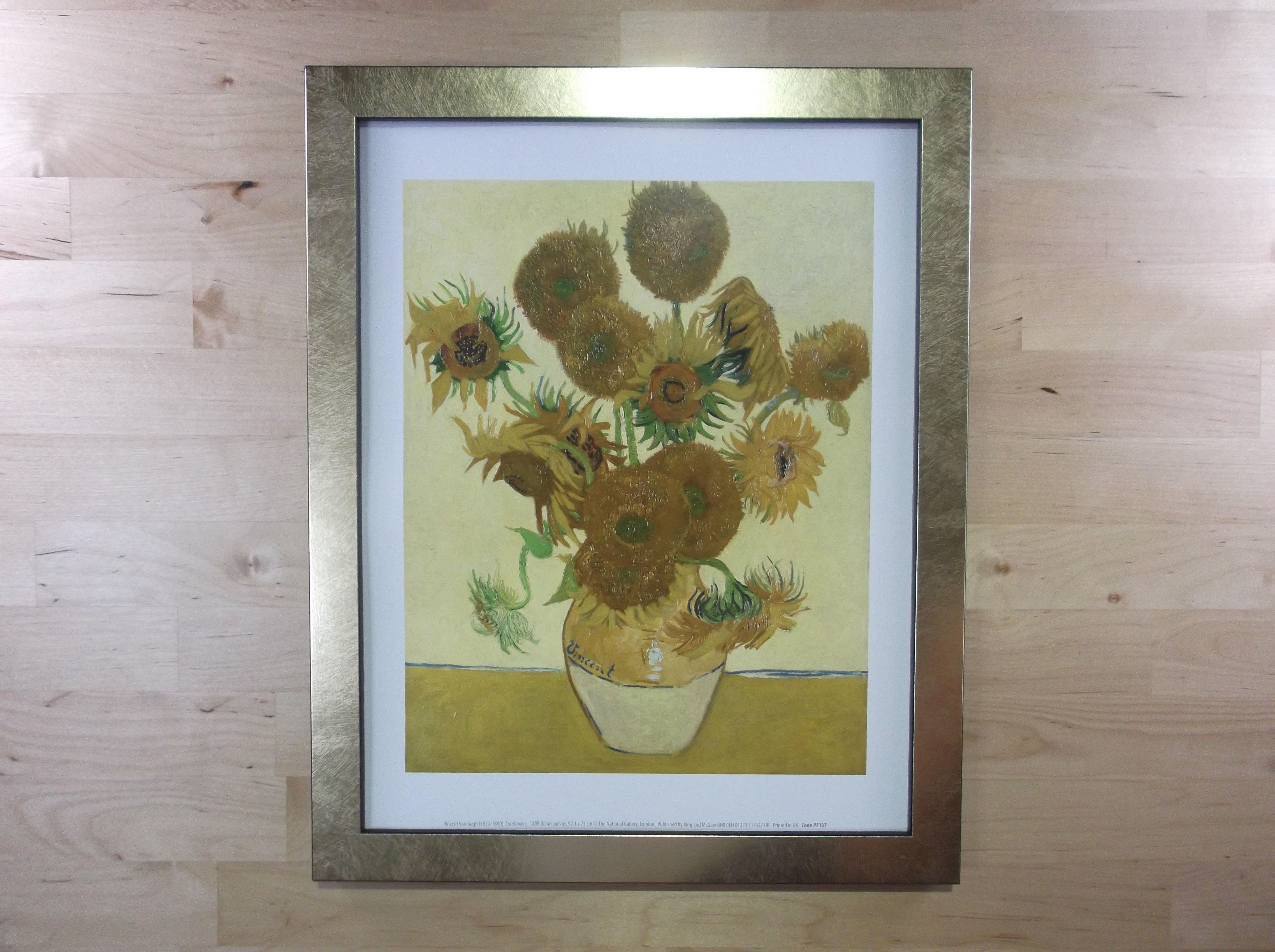 ゴッホ ひまわり ゴールド色額縁絵画プリント(ロンドン ナショナルギャラリー所蔵)