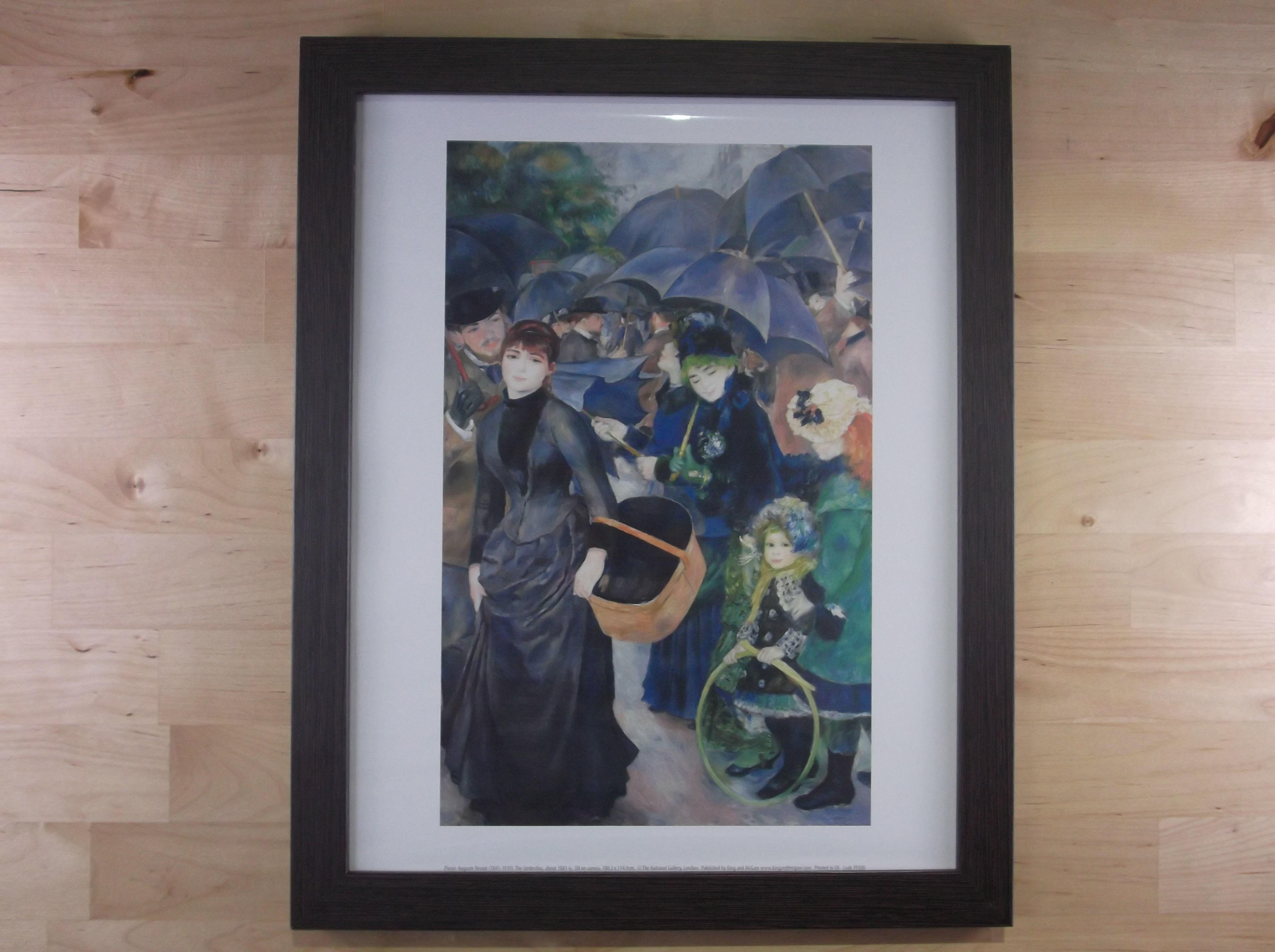 ルノアール 雨傘 ダークブラウン色額縁絵画プリント(ロンドン ナショナルギャラリー所蔵)