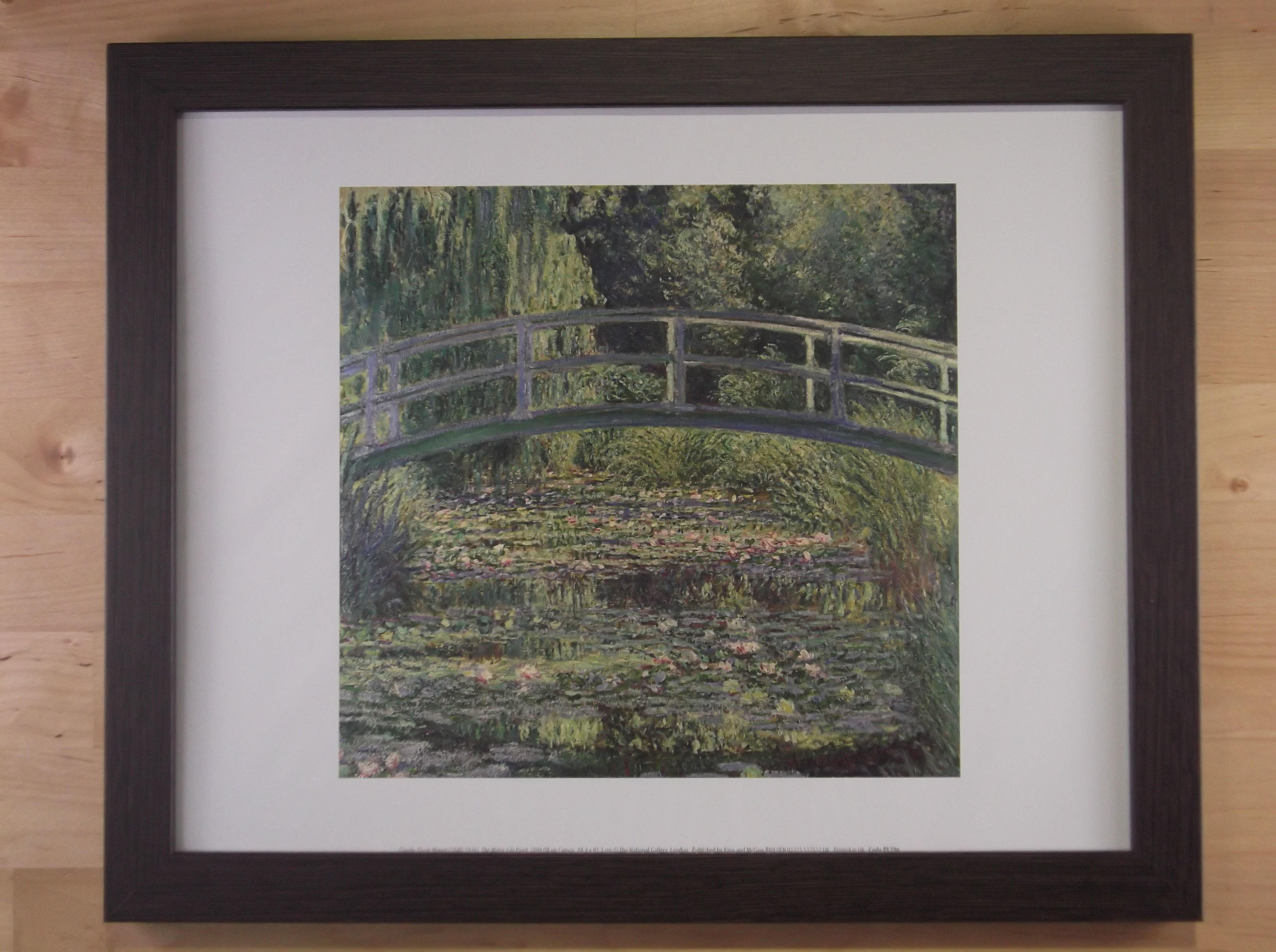 モネ 睡蓮の池 ダークブラウン色額縁絵画プリント(ロンドン ナショナルギャラリー所蔵)