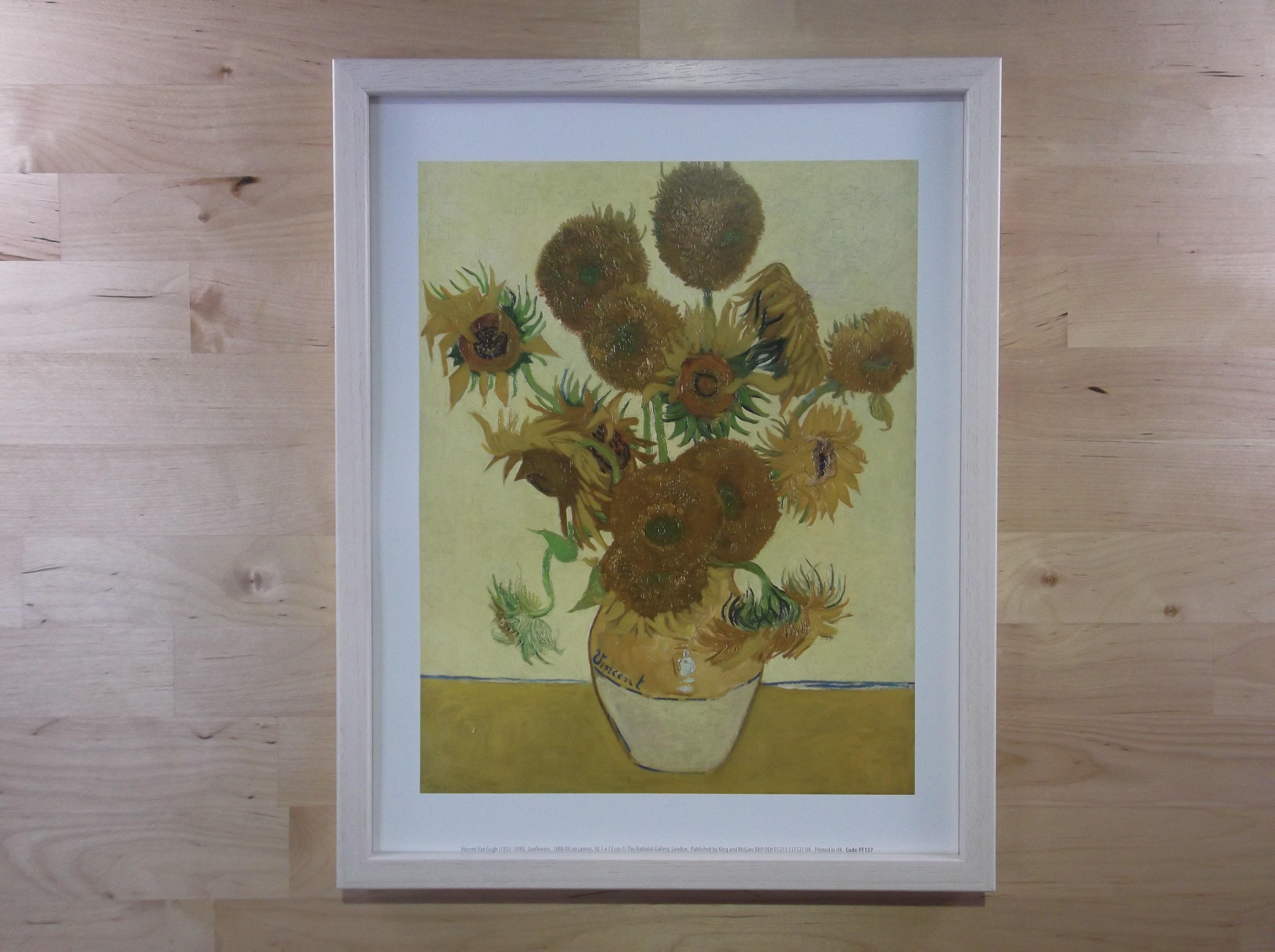 ゴッホ ひまわり ライムホワイト色額縁絵画プリント(ロンドン ナショナルギャラリー所蔵)