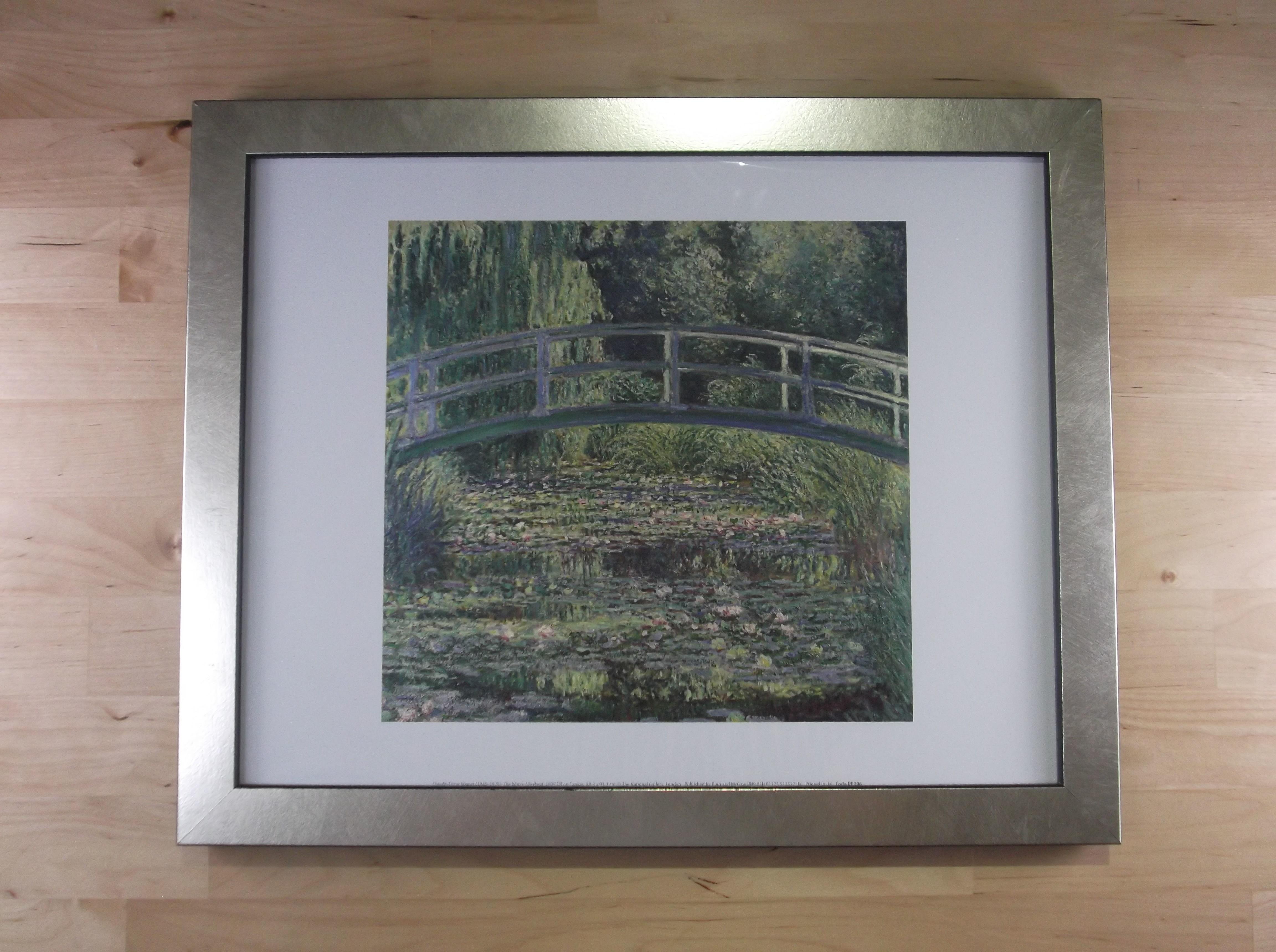 モネ 睡蓮の池 シルバー色額縁絵画プリント(ロンドン ナショナルギャラリー所蔵)