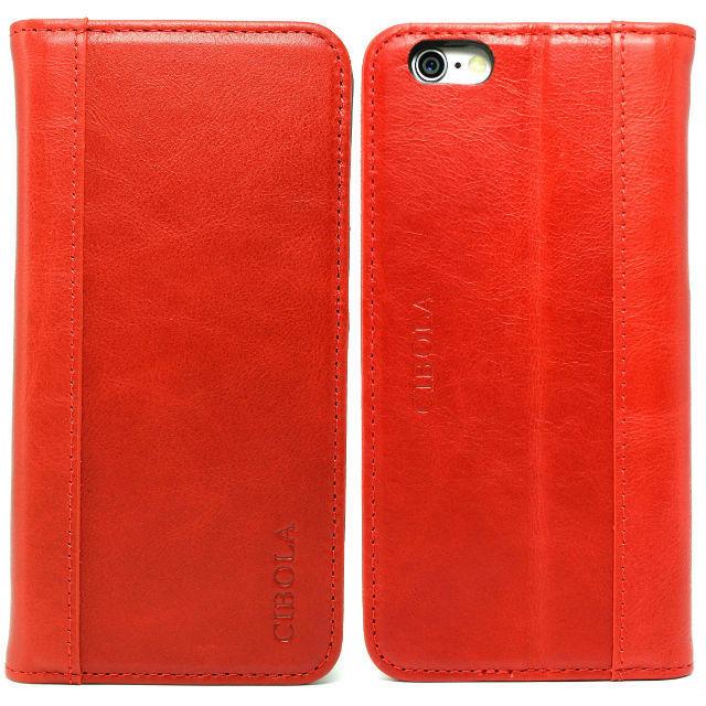 高級牛革 iPhone6s Plus ケース / iPhone6 Plus ケース 手帳型 【 専用箱 保存袋 クロス付 】本革  (iphone6 Plus/6s Plus, レッド)