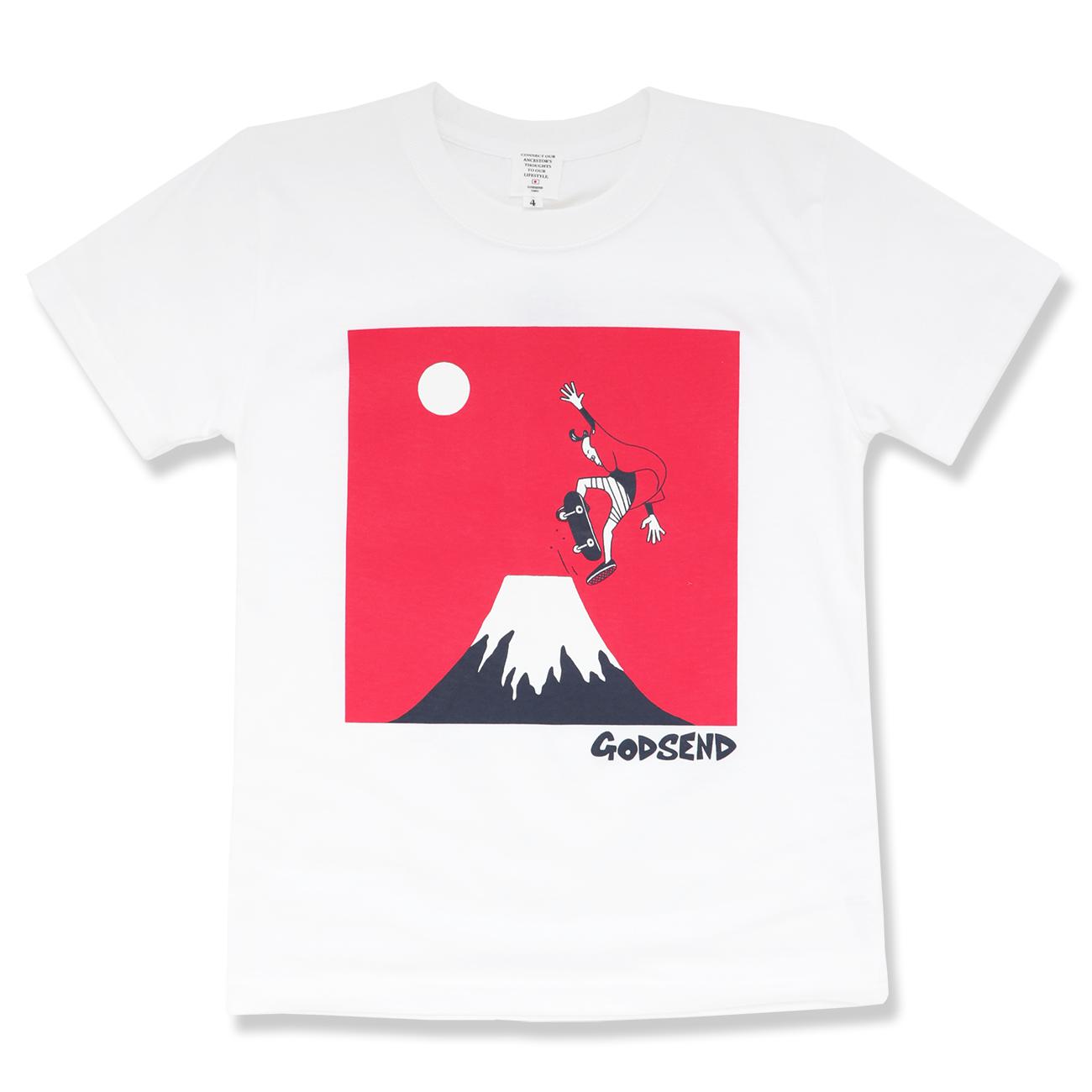 スケボー富士  T-Shirts    ADULT  WHITE  GREY