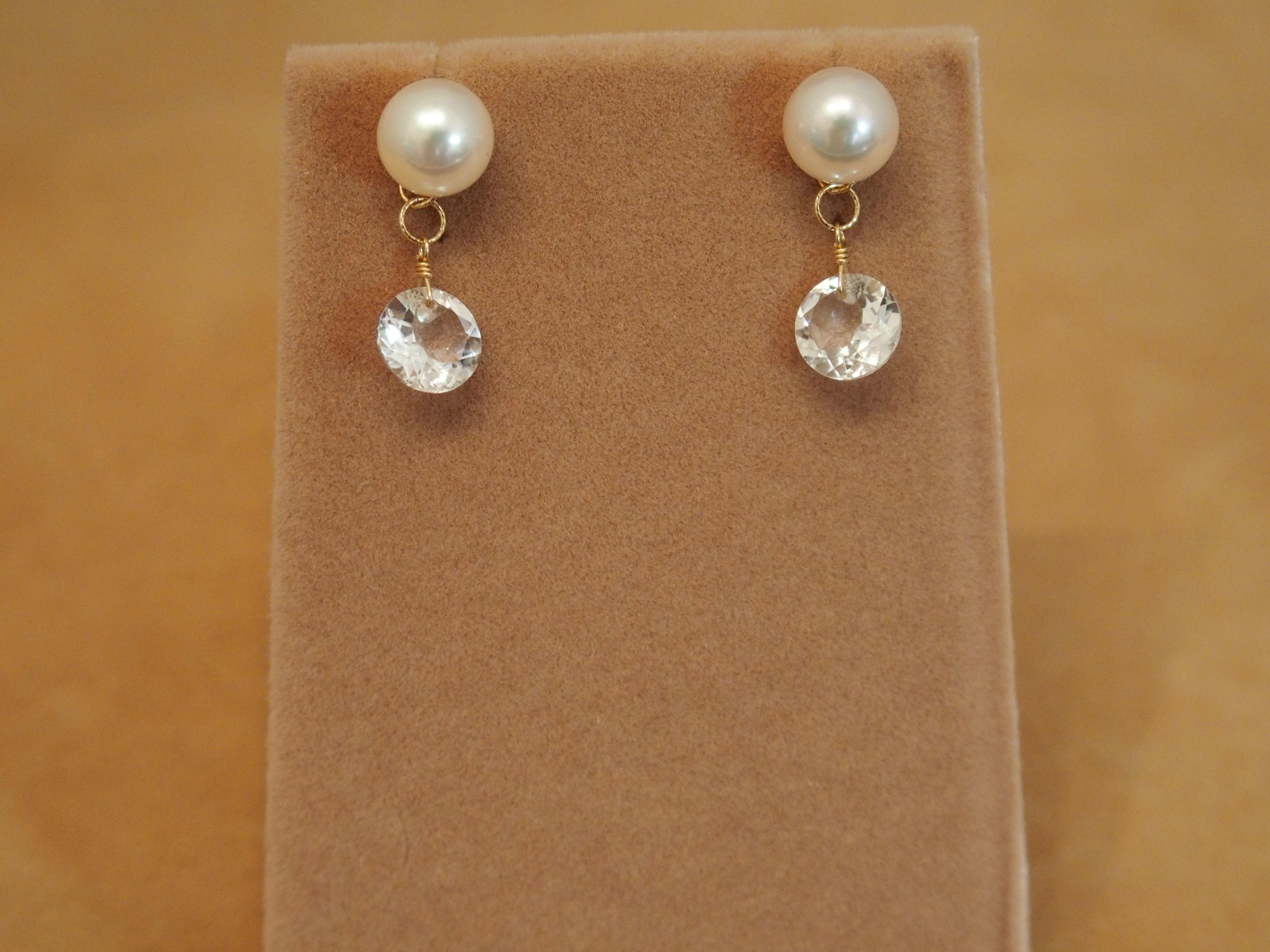 AKOYA Pearl&White Topaz Charm Earrings