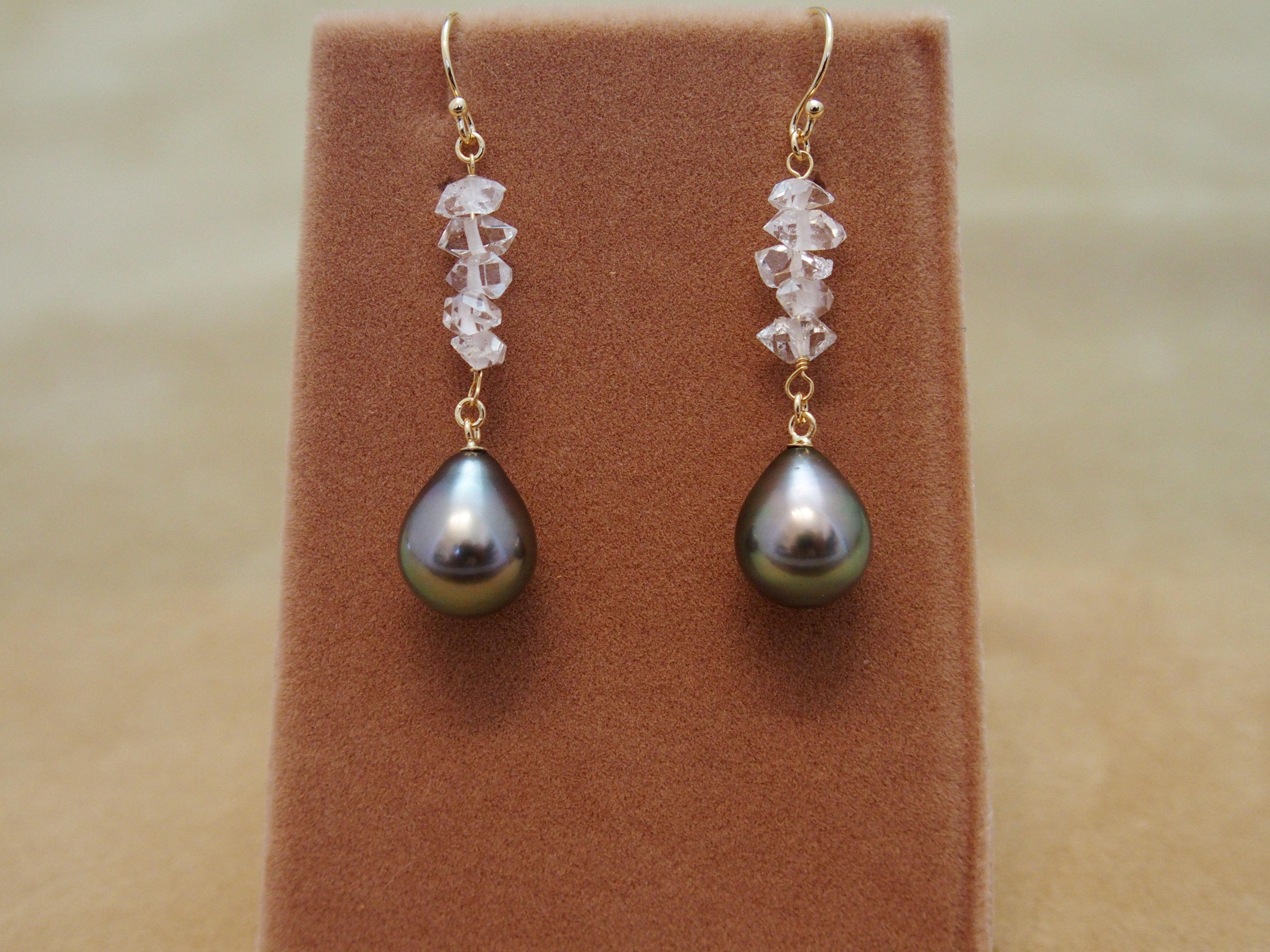 Tahitian Pearl&Diamond Quartz Earrings