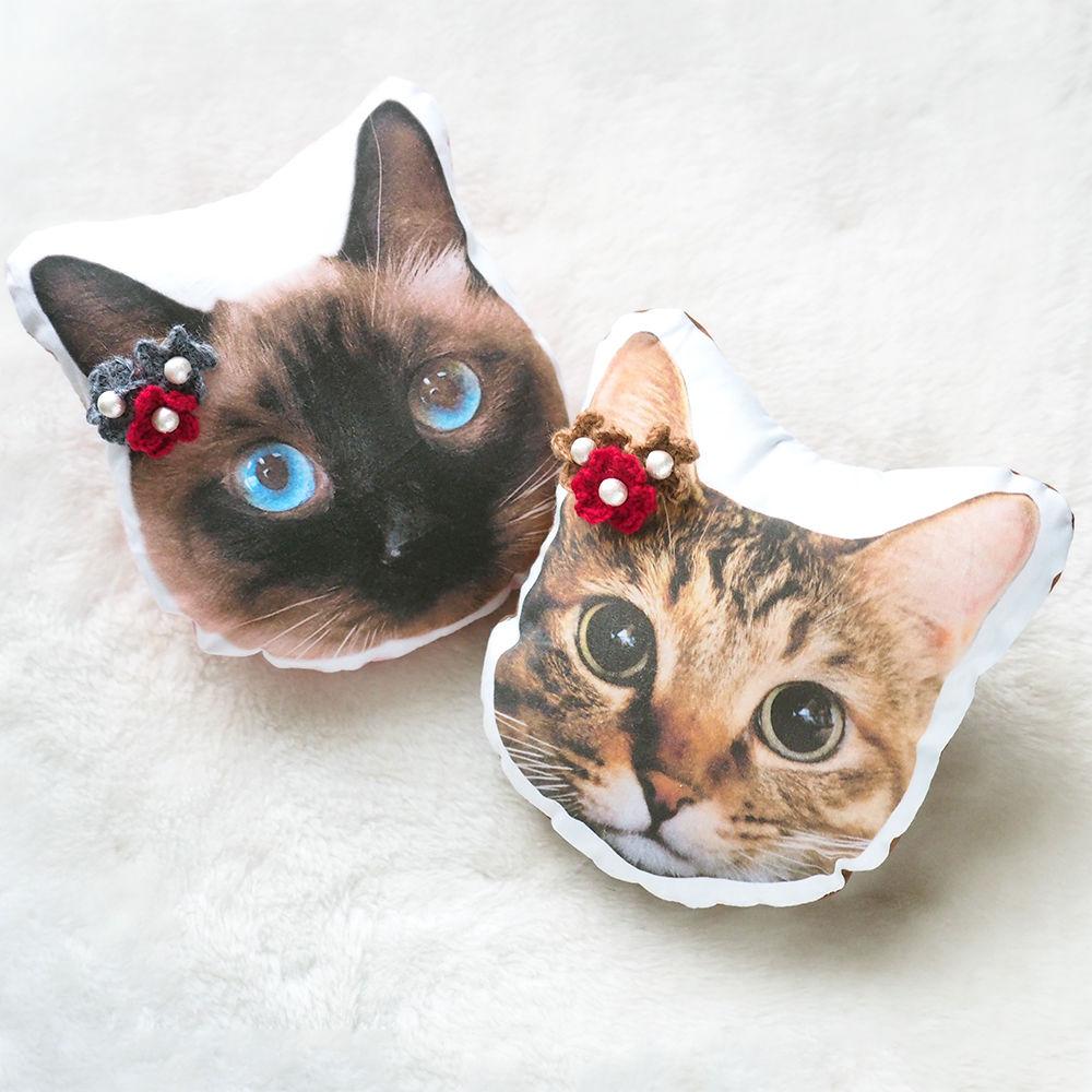 うちの子クッション 花モチーフ付き ぬいぐるみ 犬 猫 うさぎ ペットメモリアル クリスマスプレゼント オーダーメイド
