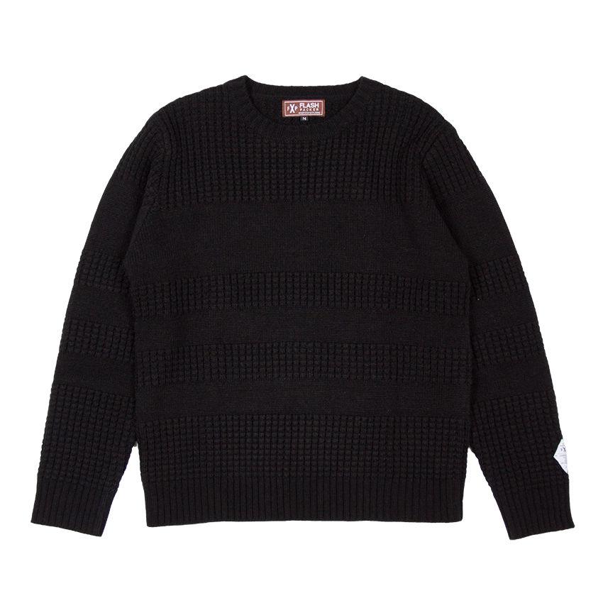 XNC-LINE  BLACK(ライン編み変えクルーニットセーター)