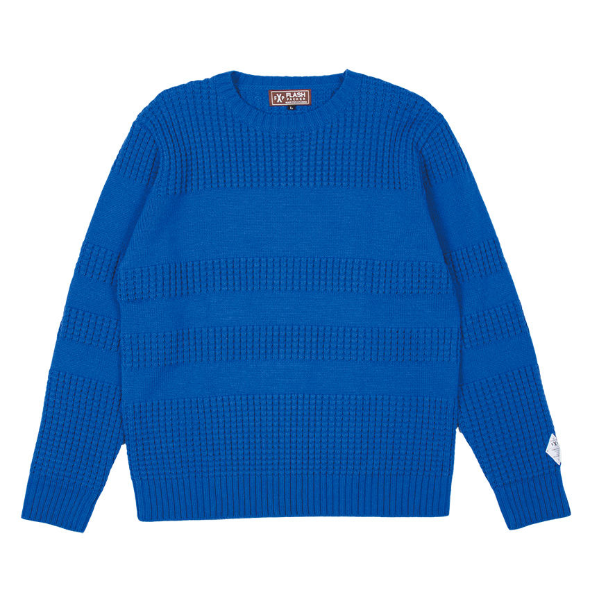 XNC-LINE  BLUE(ライン編み変えクルーニットセーター)