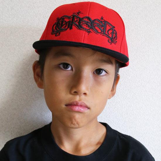 GReeD KID'S スナップバックキャップ-CASPER LOGO-(子供用) RED/BLK