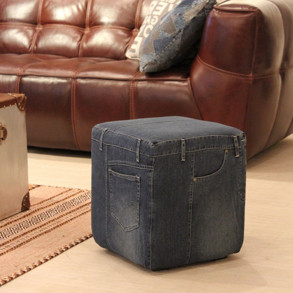 デニム スツール02 椅子 幅 35 奥行35 高さ 41 cm デニム コットン キッズルーム のあるお店にも♪ 1人掛け ソファ ジーンズ 生地 縫製