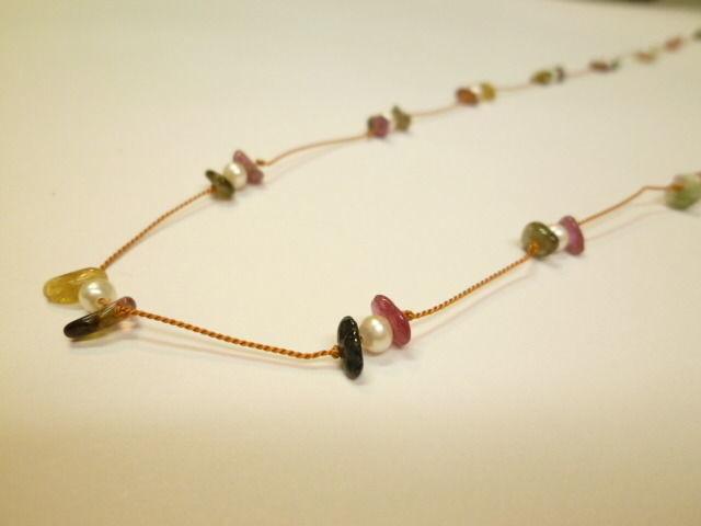 #1 天然石と淡水パールのネックレス