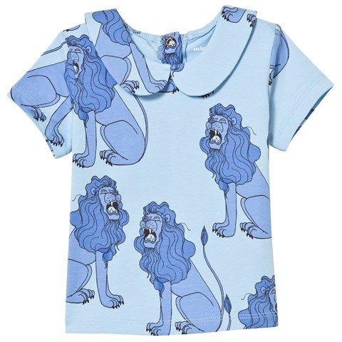 40%OFF!【Mini Rodini】Light Blue Lion Print Tee With Collar(襟付きTシャツ)92