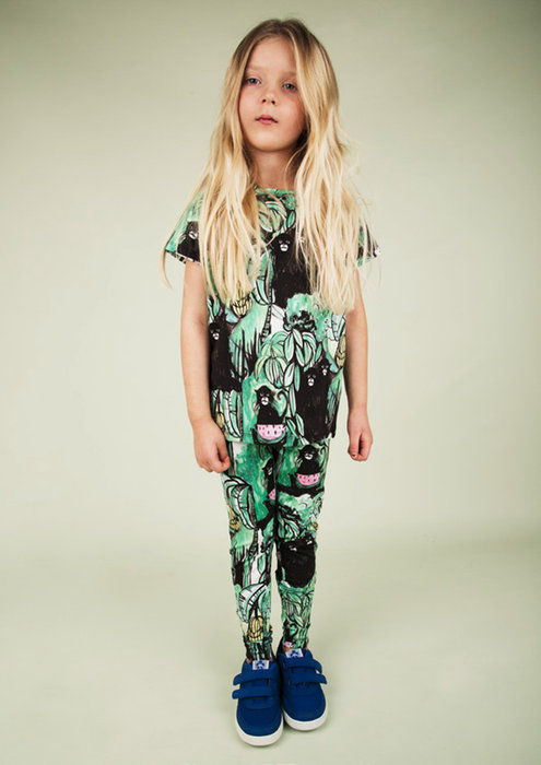 NEW!! ★mini rodini★☆ キッズ 長袖Tシャツ サル 猿 アニマルプリント ☆サイズ 104 116 オーガニックコットン キッズ ベビー インポート スウェーデン ミニロディーニ