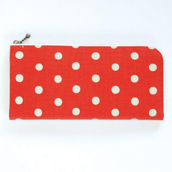 オレンジの水玉 手縫い財布